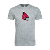 Next Level SoftStyle Heather Grey T Shirt-Cardinal