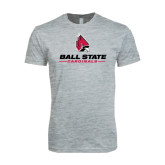 Next Level SoftStyle Heather Grey T Shirt-Ball State Cardinals w/ Cardinal