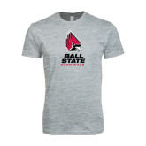 Next Level SoftStyle Heather Grey T Shirt-Ball State Cardinals Stacked