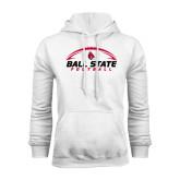 White Fleece Hoodie-Ball State Football Horizontal