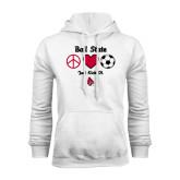 White Fleece Hood-Soccer Just Kick It