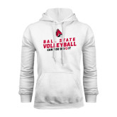 White Fleece Hoodie-Volleyball Can You Dig It