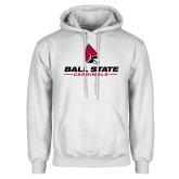 White Fleece Hoodie-Cardinal Head Ball State Cardinals