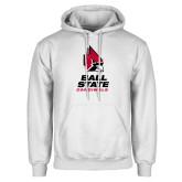 White Fleece Hoodie-Cardinal Head Ball State Cardinals Vertical