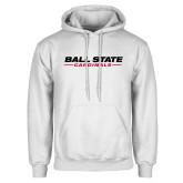 White Fleece Hoodie-Ball State Cardinals Wordmark