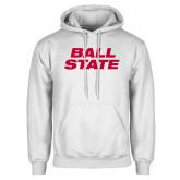 White Fleece Hoodie-Ball State Wordmark Vertical