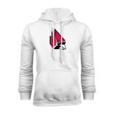 White Fleece Hood-Cardinal