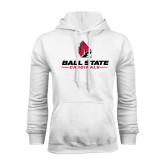 White Fleece Hoodie-Ball State Cardinals w/ Cardinal