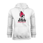 White Fleece Hoodie-Ball State Cardinals Stacked