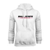 White Fleece Hoodie-Ball State Cardinals