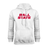 White Fleece Hood-Ball State Stacked