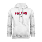 White Fleece Hood-Arched Ball State University