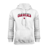 White Fleece Hoodie-Arched Ball State University Cardinals
