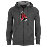 Charcoal Fleece Full Zip Hood-Cardinal