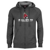 Charcoal Fleece Full Zip Hoodie-Ball State Cardinals w/ Cardinal