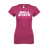 Ladies SoftStyle Junior Fitted Fuchsia Tee-Ball State Stacked