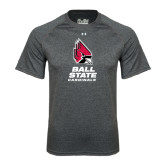 Under Armour Carbon Heather Tech Tee-Ball State Cardinals Stacked