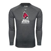 Under Armour Carbon Heather Long Sleeve Tech Tee-Ball State Cardinals Stacked