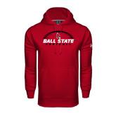 Under Armour Cardinal Performance Sweats Team Hood-Ball State Football Horizontal