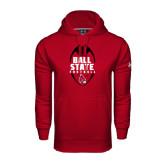 Under Armour Cardinal Performance Sweats Team Hoodie-Ball State Football Vertical