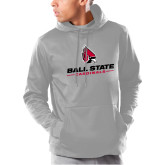 Under Armour Grey Armour Fleece Hoodie-Cardinal Head Ball State Cardinals
