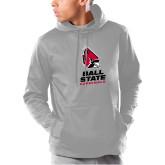 Under Armour Grey Armour Fleece Hoodie-Cardinal Head Ball State Cardinals Vertical