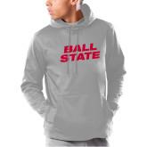 Under Armour Grey Armour Fleece Hoodie-Ball State Wordmark Vertical