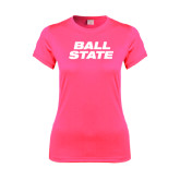 Ladies Performance Hot Pink Tee-Ball State Stacked