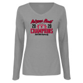 Ladies Grey Long Sleeve V Neck Tee-2020 Arizona Bowl Champions