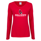Ladies Red Long Sleeve V Neck Tee-Cardinal Head Ball State Cardinals