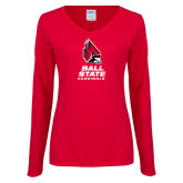 Ladies Red Long Sleeve V Neck Tee-Cardinal Head Ball State Cardinals Vertical