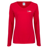 Ladies Red Long Sleeve V Neck Tee-Donor Club