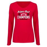 Ladies Red Long Sleeve V Neck Tee-2020 Arizona Bowl Champions