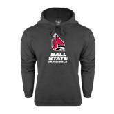Charcoal Fleece Hood-Ball State Cardinals Stacked