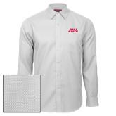 Red House White Diamond Dobby Long Sleeve Shirt-Ball State Wordmark Vertical