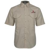 Khaki Short Sleeve Performance Fishing Shirt-Cardinal Head Ball State Cardinals