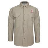 Khaki Long Sleeve Performance Fishing Shirt-Cardinal Head Ball State Cardinals