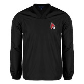 V Neck Black Raglan Windshirt-Cardinal
