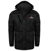 Black Brushstroke Print Insulated Jacket-Cardinal Head Ball State Cardinals