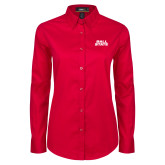 Ladies Red Twill Button Down Long Sleeve-Ball State Wordmark Vertical
