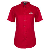Ladies Red Twill Button Up Short Sleeve-Cardinal Head Ball State Cardinals