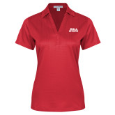 Ladies Red Performance Fine Jacquard Polo-Ball State Wordmark Vertical