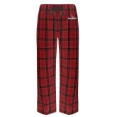 Red/Black Flannel Pajama Pant-Cardinal Head Ball State Cardinals