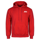 Red Fleece Hoodie-Ball State Wordmark Vertical