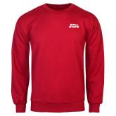 Red Fleece Crew-Ball State Wordmark Vertical