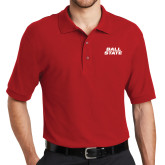Red Easycare Pique Polo-Ball State Wordmark Vertical