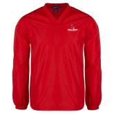 V Neck Red Raglan Windshirt-Cardinal Head Ball State Cardinals