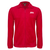 Fleece Full Zip Red Jacket-Ball State Wordmark Vertical