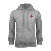 Grey Fleece Hoodie-Cardinal