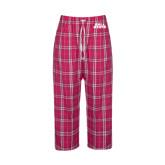 Ladies Dark Fuchsia/White Flannel Pajama Pant-Ball State Stacked